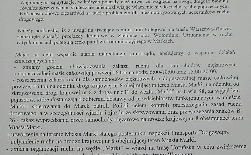 Stanowisko Rady Powiatu Wołomińskiego w sprawie ograniczenia ruchu samochodów ciężarowych na odcinku drogi krajowej S8 wMarkach.