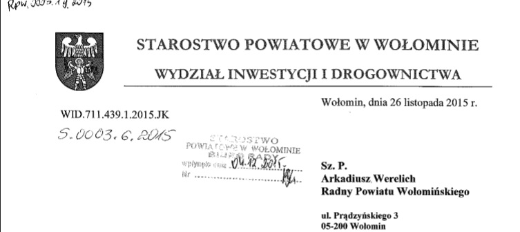 Zestawienie dróg Powiatu Wołomińskiego, czyli odpowiedź na mojąinterpelację.